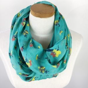 AEO Floral Infinity Scarf Turquoise Yellow Red